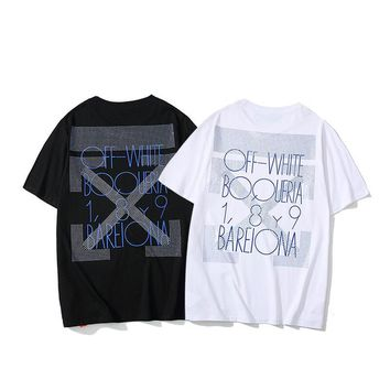 HCXX 19July 469 Off White glitter stone Casual Cotton Short Sleeved T-shirts