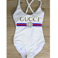 GUCCI Women SwimBackless Cross Vest Type One Piece Bikini B-HNMRY/B-KWKWM Black
