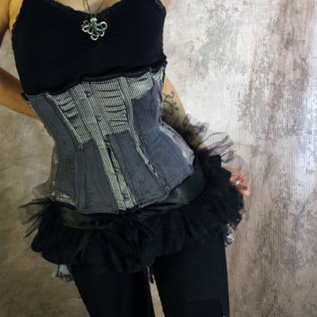 Deconstructed BurlesqueTattered Gothic Bustle Tutu wrap by XXXavia