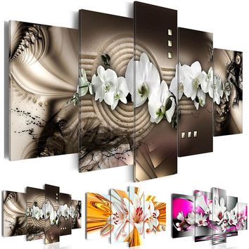 Modern Painting Canvas 5 Panels Wall Art Abstract Diamond Orchid Flower Living Room Home Decoration Hot Sell Fashion