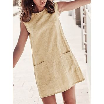 Fashion Womens Summer Dress Casual O Neck Sleeveless Summer Solid Linen Mini Dress With Pockets sweet girls dress ropa mujer