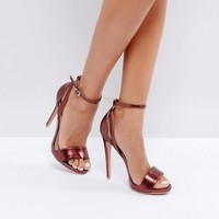 Lost Ink Raula Burgundy Heeled Sandals at asos.com