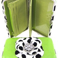 "3d Raised Polka Dot Flower 1"" Thick Flat Wallet Clutch Purse Lime Green"