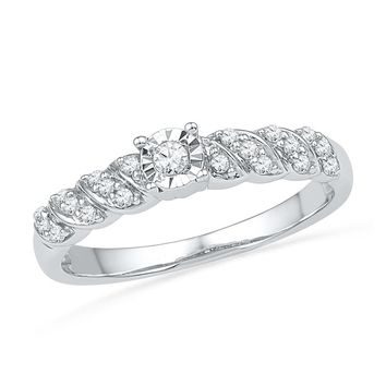 10kt White Gold Womens Round Diamond Solitaire Promise Bridal Ring 1/5 Cttw