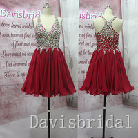 Top selling rhinestones burgundy chiffon sexy short prom dress,v neck see through mini length red homecoming dress,wedding party dress