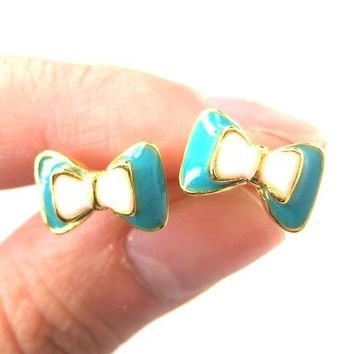 Bow Tie Knot Shaped Ribbon Stud Earrings in Turquoise on Gold