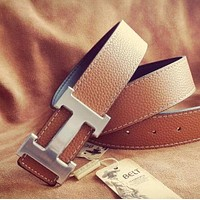 Hermes Men Woman Fashion Logo Leather Smooth Buckle Belt