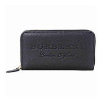 Burberry Leather Ziparound Wallet- Black