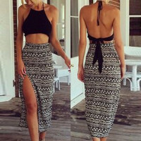 Black Halter Tank Top And High-Waist Printed Skirt