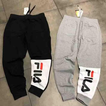 FILA Trending Women Men Personality Letter Print Drawstring Sport Stretch Pants Trousers Sweatpants I-G-JGYF