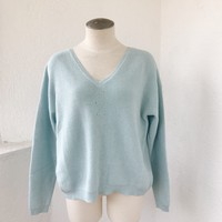 CLARISSA GLITTER TIE BACK SWEATER- BLUE