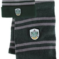 Bundle - 2 items: Harry Potter Slytherin Beanie Hat and Wool Scarf Set