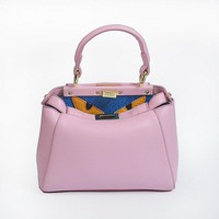 New Arrival FENDI Fashion Pink textured leather shopper tote handbag bag