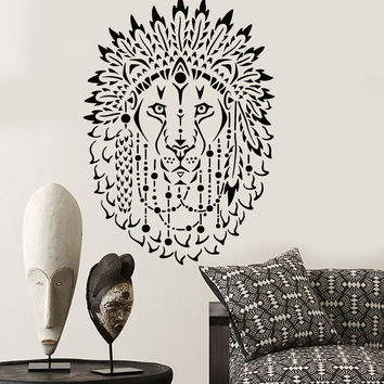 Vinyl Wall Decal Lion King African Animal Beautiful Feathers Stickers Unique Gift (1277ig)