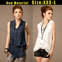 Korean Fashion Womens Chiffon Casual Summer Tunic Belted Long Tops Shirt Blouses