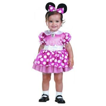 Disney Minnie Mouse Toddler Costume 12-18M Pink Halloween Dress Up Dress girls