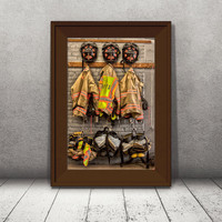 Firefighter Gear Print, Menomonee Falls WI, Firehouse Fire fighter equipment, Living Room Art, Fathers Day, Fireman Gift, Home Decor