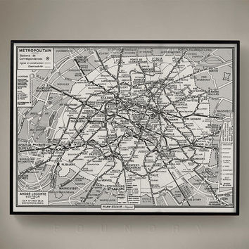 PARIS MÉTRO MAP, Vintage 1950's Guilmin's Parisian Métro Map, Old Paris Map, Vintage Maps, Retro Maps, Vintage Cartography, Paris Subway Map