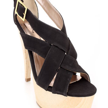 Black Strappy Faux Wooden Platform Heels Faux Leather