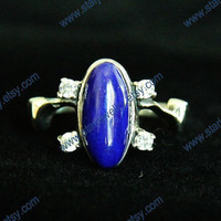 Steampunk Vampire Diaries Elena 925sterling Ring with blue lapis and 4 Crystals.
