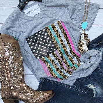 Leopard & Multi Color American Flag Graphic Tee