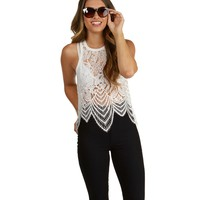 White Master Lace Tank Top
