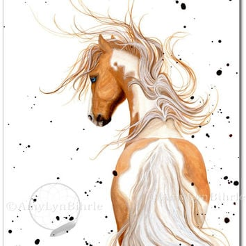 Majestic Horse Palomino Paint Pinto - Fine Art Prints by Bihrle mm121