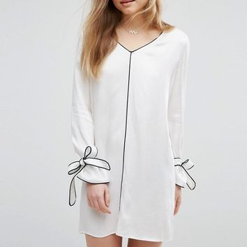 ASOS Pajama Shift Dress with Piping at asos.com