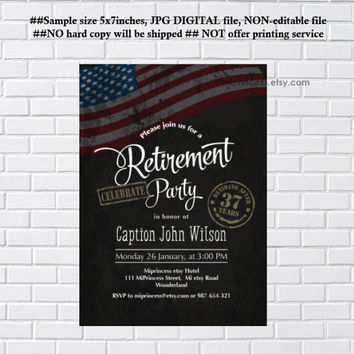 Military Retirement Party, Army Retirement Invitations, Army party, Retirement party Invitation, Retirement Celebration - card 1074
