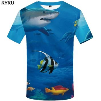 KYKU Shark T-shirt Men Fish 3d T Shirt Animal Funny T Shirts Blue Ocean Tropical Printed Tshirt Punk Rock Casual Mens Clothing