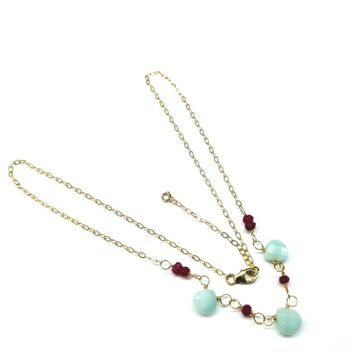 Gold Chain Necklace With Fuchsia and Mint Color Gemstones