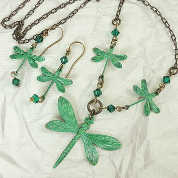 Emerald green Dragonfly Necklace and Earring set by CobwebCorner