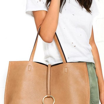 Flip the Script Navy Blue and Tan Reversible Tote