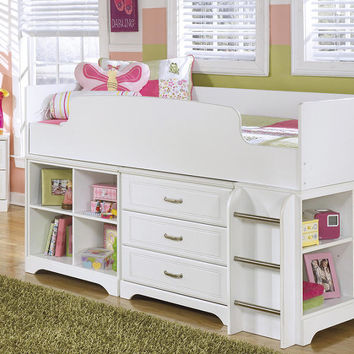 Milan White Twin Mid High Storage Loft Bed