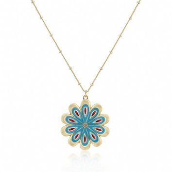 Shani's 14k Gold Boho Style Blue & Red Flower Medallion Necklace-Final Sale