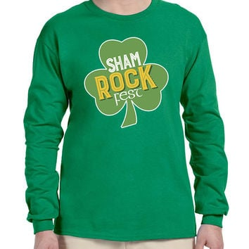 Men's Long Sleeve Shamrock Fest St Patrick's Day Party Top