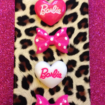 Barbie Hot Pink Leopard Print Polka Dot Case Cover Available in iPhone 4 & 5