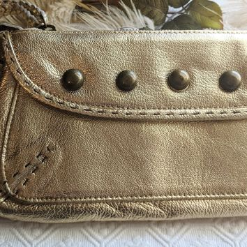 Carla Mancini Gold Metallic Studded Clutch Wristlet