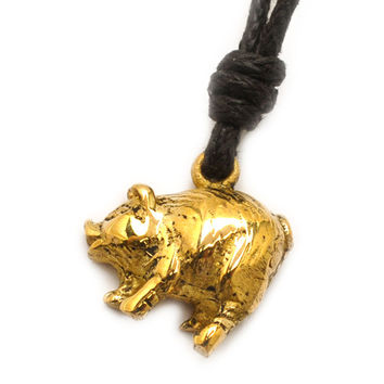Year of the Pig Handmade Brass Necklace Pendant Jewelry