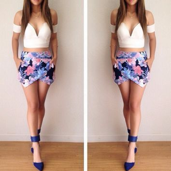 fashion v-neck printing two-piece outfit