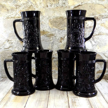Vintage Ebony Glass Beer Steins by Tiara Exclusives Indiana Glass
