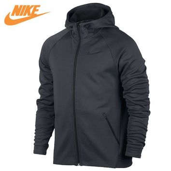 Nike Original Men's New Arrival Sport Jacket Breathable Hooded Knitted Warm Jacket Black and Grey 800220-010 800220-071