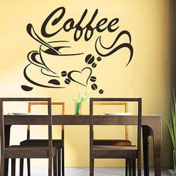 Coffee Beans Wall Decals Coffee Cup Decal Cafe Drinks Kitchen Bar Decor C550