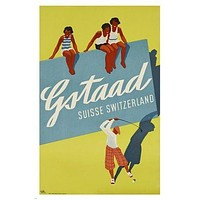 switzerland GSTAAD vintage TRAVEL POSTER golf leisure sports UNIQUE 24X36