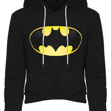 Hooded Long Sleeve Color Block Batman Fleece Cropped Hoodie