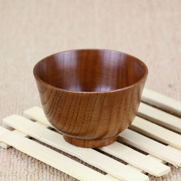 "New Wood Bowl 10cm 3.94"" Child Bowl Classic Heat Insulation Rice Bowl Creative Soup Bowl Wood Tableware"