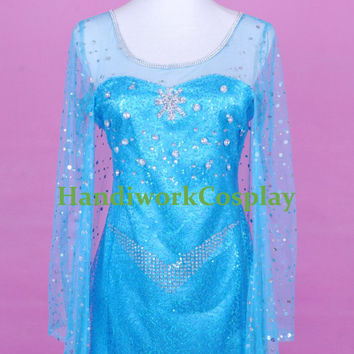 Queen Elsa Costume,Frozen Elsa Dress,Elsa Cosplay Outfit For Adult, Girls And Custom Any Size
