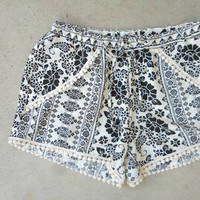 Seaside Shorts in Paisley [7002] - $27.00 : Feminine, Bohemian, & Vintage Inspired Clothing at Affordable Prices, deloom