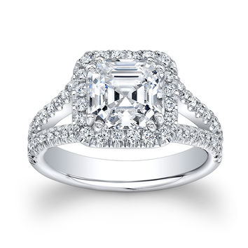 Ladies 14kt white gold 2ct natural white sapphire Asscher Cut White Sapphire diamond halo engagement ring 0.55 ctw G-VS2 diamonds