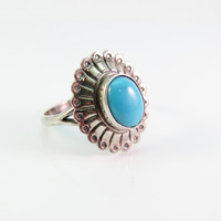 Vintage Sterling Silver Turquoise Ring, Native American Ring, Navajo Ring, Vintage Turquoise Ring Size 5.5